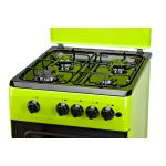 Aragaz LDK 5060 A Green NG, Gaz, 4 Arzatoare, Siguranta, Aprindere electrica, Capac metalic, 50x60 cm, Verde