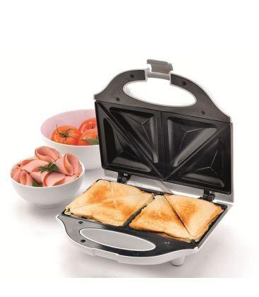 Sandwich maker HOME HG SZ 02, Putere 750 W, 2 felii, Alb