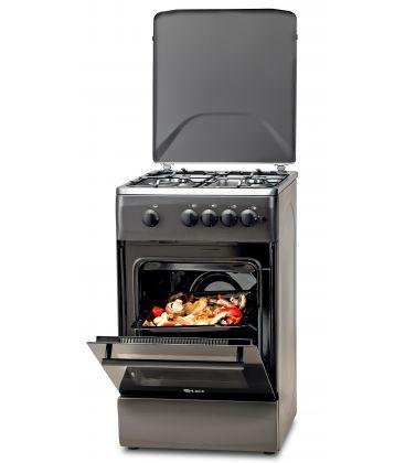 Aragaz LDK 5060 A Mat Black RMV, 4 arzatoare, Capac metalic, Aprindere electrica, 50x60 cm,  Negru Mat