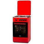 Aragaz LDK 5060 A RED FR RMV NG, Gaz, 4 Arzatoare, Siguranta, Aprindere electrica, Capac metalic, 50x60 cm, Rosu