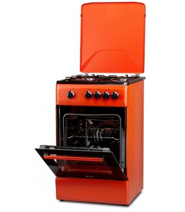 Aragaz LDK 5060 BRICK RED RMV NG, Gaz, 4 arzatoare, Capac metalic, Siguranta, 50x60 cm, Caramiziu