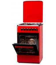 Aragaz LDK 5060 ECAI RED FR RMV LPG, 4 Arzatoare, Siguranta, Cuptor electric, Aprindere, Iluminare, Capac metalic, Rosu