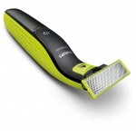 Aparat de barbierit Philips OneBlade QP2520/20, 3 piepteni (1, 3, 5 mm), Autonomie 45 minute, Prosop cadou, Negru/Verde