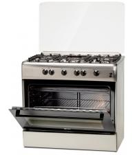 Aragaz LDK 6090 GRAI IX RMV NG, Gratare plita din fonta, 5 arzatoare, Aprindere electrica, Grill, Rotisor, 90 cm, Inox