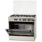 Aragaz LDK 6090 GRAI IX NG, Gratare plita din fonta, 5 arzatoare, Aprindere electrica, Grill, Rotisor, 90 cm, Inox