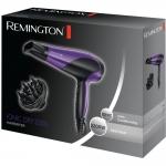 Uscator de par Remington D3190, 2200 W, Ionizare, 3 Trepte temperatura, 2 Viteze, Negru/Mov