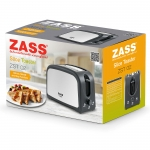 Prajitor de paine Zass ZST 02, 750W, 2 felii, Tavita frimituri, Inox