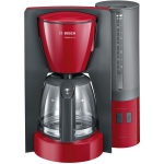 Cafetiera Bosch TKA6A044, Putere 1200 W, Capacitate 1.25 l, Aroma+, Decalcifiere EasyDescale3, Rosu