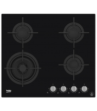 Plita incorporabila Beko HILW64322S, Gaz, 4 arzatoare, Wok, Flame adjust, Aprindere electrica, Gratar din fonta, Negru