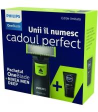 Aparat de barbierit Philips OneBlade QP2520/20, Autonomie 45 minute, 3 piepteni (1, 3, 5 mm), Lotiune Nivea Men, Negru/Verde