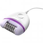 Epilator Philips Satinelle Essential BRE225/00, 2 setari de viteza, Cap lavabil, Alb/Mov