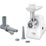 Masina de tocat Bosch MFW2515W, Putere 350 W, Capacitate 1.7 Kg/min, Accesoriu carnati, Accesoriu suc de rosii, Alb
