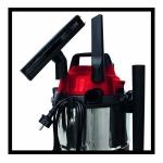 Aspirator Einhell TC-VC 1815 S, Putere 1250 W, Capacitate 15 l, Sistem de aspirare umed/uscat, Alb/Rosu