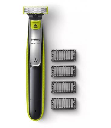 Aparat de barbierit si tuns barba Philips OneBlade QP2530/20, Acumulator, Autonomie 60 minute, 4 piepteni, Negru-Verde
