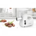 Masina de tocat carne Rohnson R5412, Putere 1500 W, Functie reverse, Accesoriu carnati, Accesoriu rosii, Alb