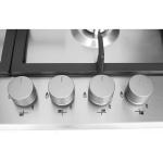 Plita incorporabila Whirlpool GMA 6422/IX, Gaz, 4 Arzatoare, Aprindere electrica, Wok, Gratar fonta, Inox