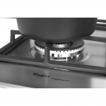 Plita incorporabila Whirlpool GMF 6412/IX, Gaz, 4 arzatoare, Aprindere electrica, Siguranta, Gratar din fonta, Inox