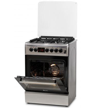 Aragaz LDK 6060 D ECAI IX NG, Cuptor electric convectie, Display LCD, Aprindere,  Termostat, Timer, 6 functii, Inox
