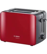Prajitor de paine Bosch TAT6A114, Putere 1090 W, 2 felii, Functie dezghetare si reincalzire, Rosu