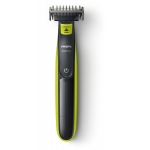 Aparat hibrid de barbierit si tuns barba Philips OneBlade QP2520/60, Autonomie 45 minute, 3 piepteni, Husa, Negru/Verde