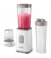 Mini blender Philips HR2603/00, Putere 350 W, Capacitate 1 L, 2 viteze, Recipient On-the-Go, Multitocator, Alb