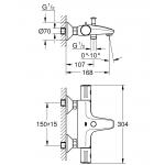 Baterie de cada Grohe Grohtherm 800 34576000, Diametru 1/2, Termostat, TurboStat, SafeStop Plus, EcoJoy, Argintiu