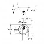 Chiuveta de bucatarie Grohe K200 31656AT0, Dimensiune 380 x 200 mm, Material Quartz composite, Kit instalare inclus, Gri granit