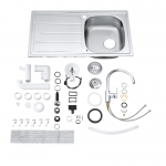 Pachet chiuveta si baterie bucatarie Grohe Bau K200 31562SD0, Dimensiuni 860 x 500 mm, Cartus ceramic, Kit inclus, Argintiu