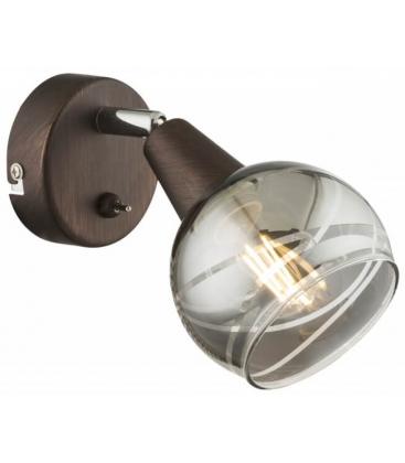Aplica de perete Globo Isla 54347-1, Bec LED 4 W inclus, Abajur din sticla fumurie, Bronz