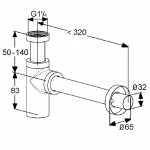 Sifon pentru lavoar Kludi Design 1002005, G 1 1/4 x 32 mm, Cot evacuare 330 mm, Argintiu