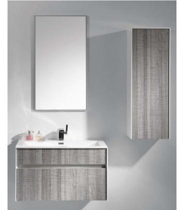 Mobilier baie Xante, Dimensiuni 45 x 84 x 48, Cenusiu/Alb lucios
