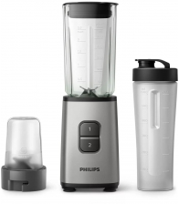 Blender Philips HR2605/80, Putere 350 W, Capacitate 0.9 l, 2 viteze, Zdrobire gheata, Recipient on-the-go, Argintiu