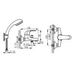 Baterie cada si dus Ferro Metalia 57 57020/1.1, Comutator cada/dus automat blocabil, Cartus ceramic, Regulator debit, Alb