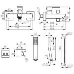 Baterie cada si dus Ferro Zicco BZI11, Cartus ceramic, Regulator debit M48x1, Set de dus inclus, Cromat