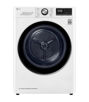 Uscator de rufe cu pompa de caldura LG RC90V9AV2Q, Clasa A+++, Capacitate 9 Kg, EcoHybrid, Wifi, Pompa dual inverter, Alb