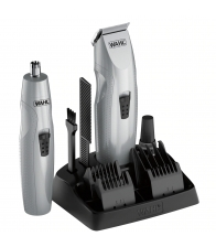 Set de tuns barba Wahl 05606-308 + trimmer pentru nas si urechi, 6 trepte de taiere, 0.5 - 12, Gri