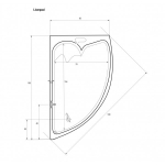 Cada de baie Sanotechnik Liverpool 41500, Dimensiuni 165 x 95 x 45,5  cm, Capacitate 155 L, Acryl, Alb