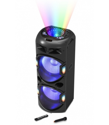 Boxa Portabila Akai DJ-BY4L, Microfon Wireless, Lumini discoteca, Bluetooth, Cititor de carduri, USB, Radio FM, Negru