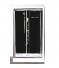 Cabina de dus Sanotechnik Quickline CL72, Montaj rapid, Dreptunghiulara, Sticla securizata 5mm, Argintiu/Negru