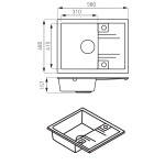 Chiuveta de bucatarie dubla Ferro Mezzo II DRGM2/48/78GA, Reversibila, Dimensiuni 78x48, Gri