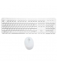 Kit tastatura + mouse Serioux SRX9910WH, Wireless, Retro, Alb