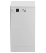 Masina de spalat vase Beko DVS05024W, Clasa E, Capacitate 10 seturi, 5 programe, Flexible HalfLoad, Start intarziat, 45 cm, Alb