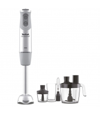 Mixer vertical Tefal Quickchef HB65LD38, Putere 1000 W, Capacitate 800 ml, 20 viteze, Picior Inox, Pahar, Tocator, Tel, Alb